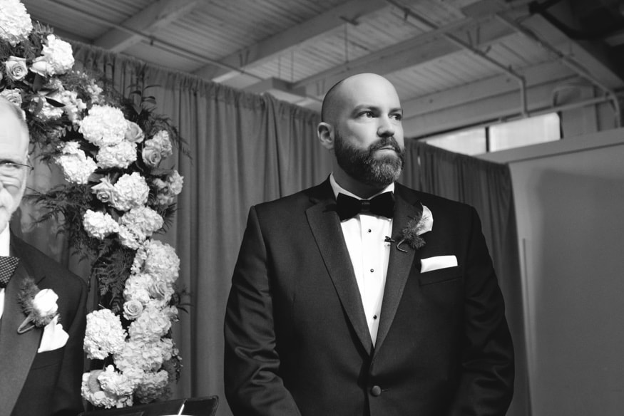 Groom seeing the bride for the first time at Moulin wedding.