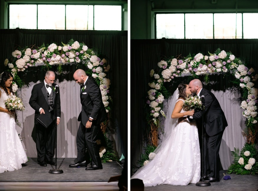 First kiss at Moulin Philadelphia wedding ceremony.