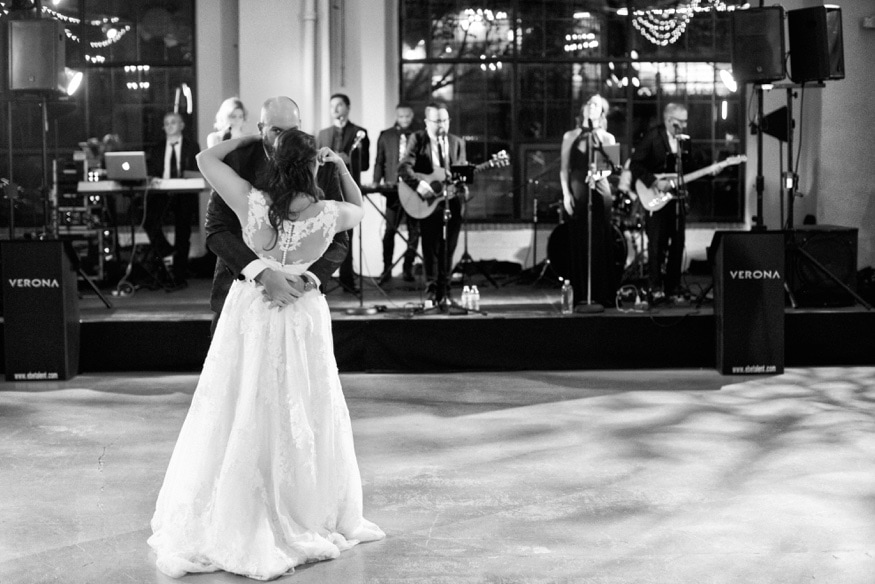 Bride & Groom first dance at Moulin by Brulee Catering wedding reception.