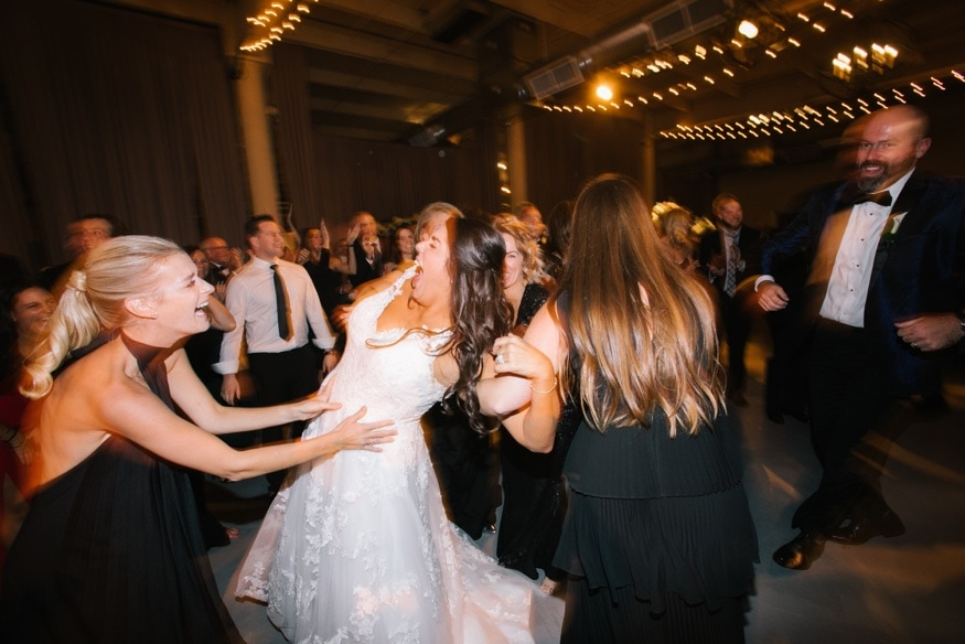 Dancing at Moulin by Brulee Catering wedding reception.