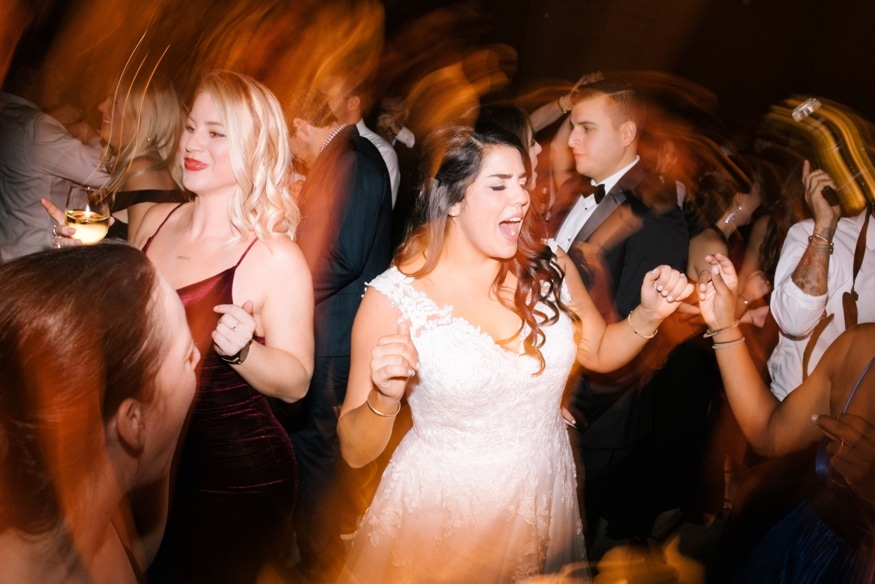 Bride dancing at Moulin wedding in Philadelphia.