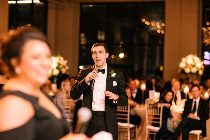 Speeches at Moulin Philadelphia wedding reception.