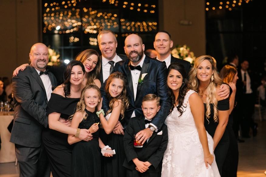 Family portraits at Moulin Philadelphia wedding reception.
