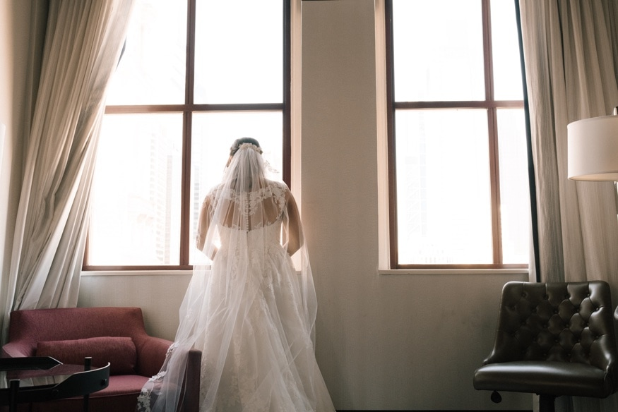 Bride's portraits at The Notary Hotel in Philadelphia.