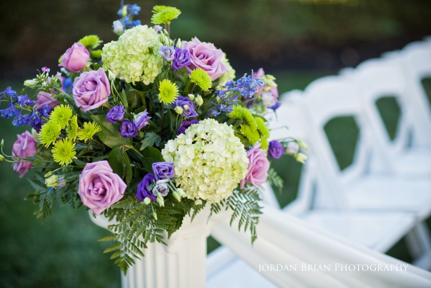 details of flowers at wedding ceremony at knowlton mansion