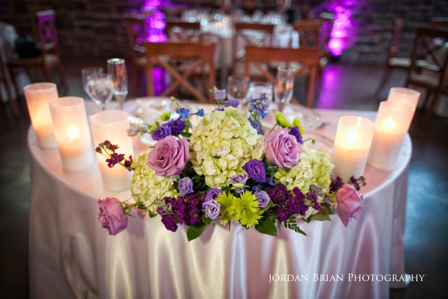 sweetheart table at knowlton masion wedding reception