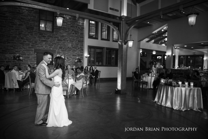 bride and groom first dance at knowlton mansion