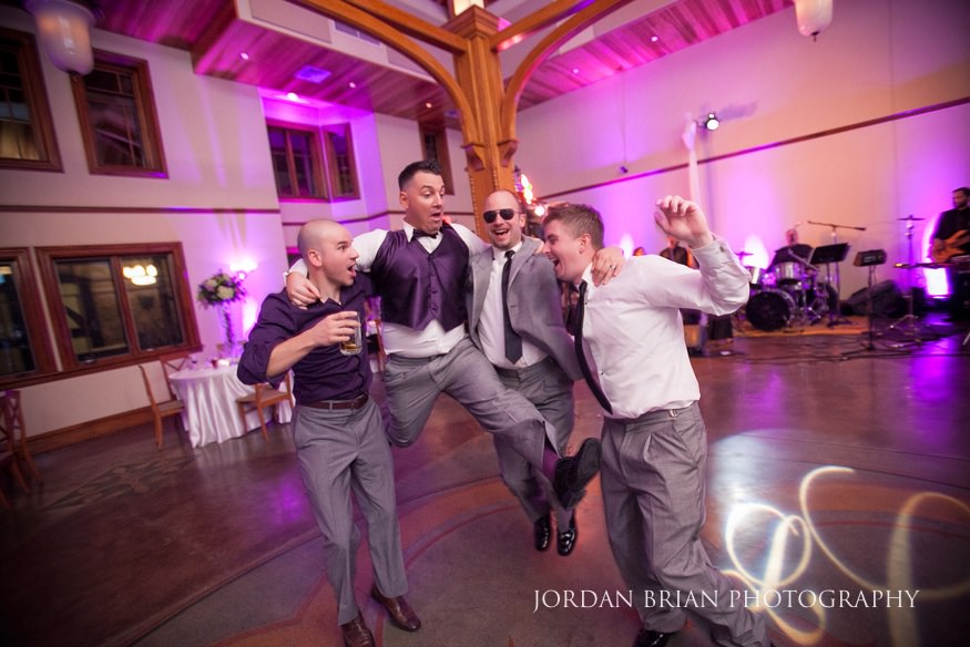 Groom dancing at knowlton mansion wedding reception