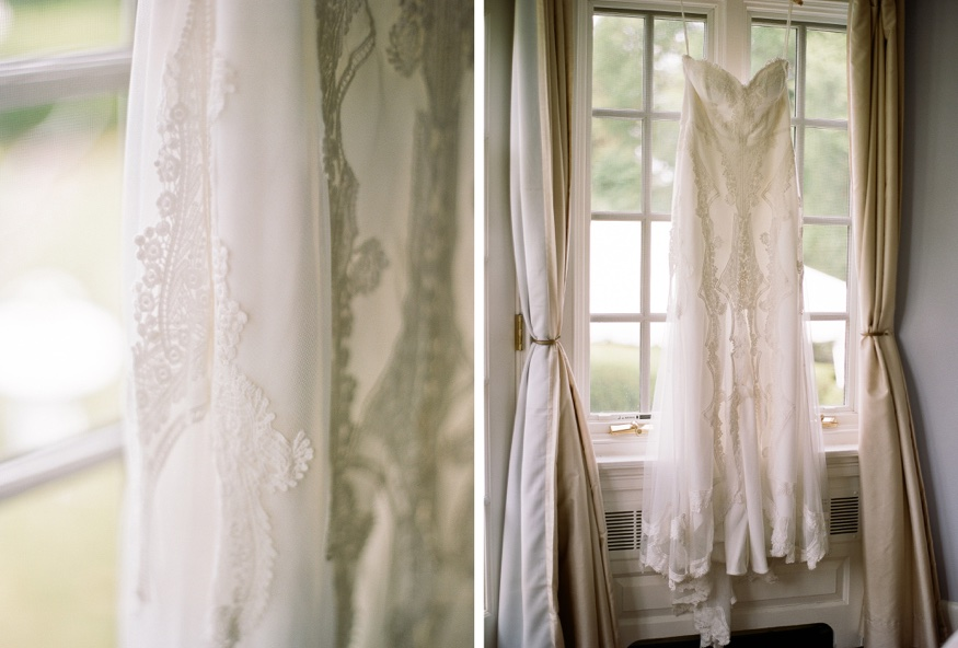 Bride's wedding dress from the Lovely Bride ins NYC. Dress by Jane Hill at New Jersey backyard wedding.