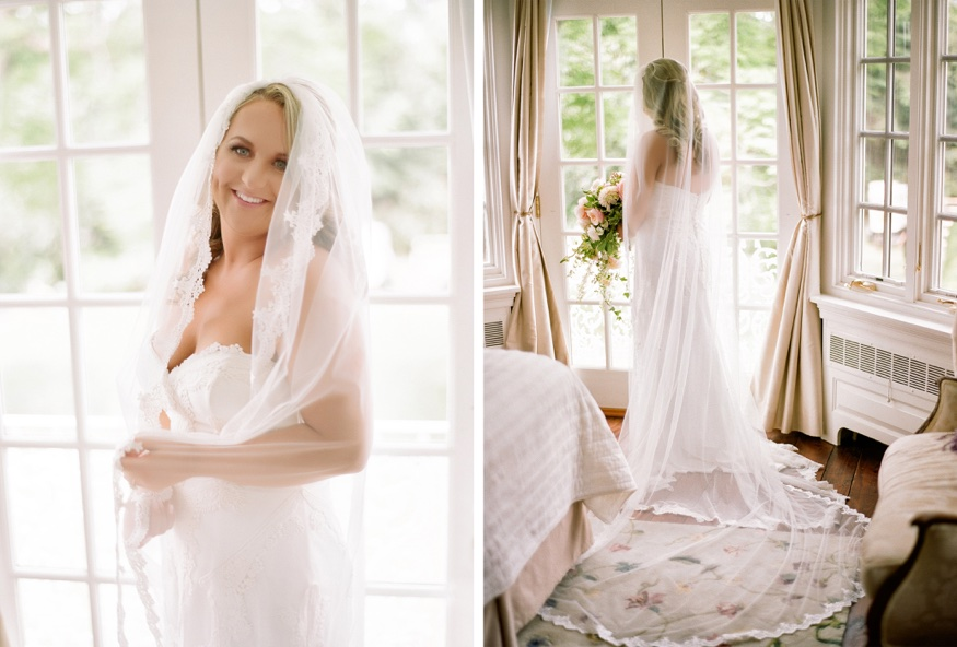 Bride portraits at New Jersey backyard wedding.