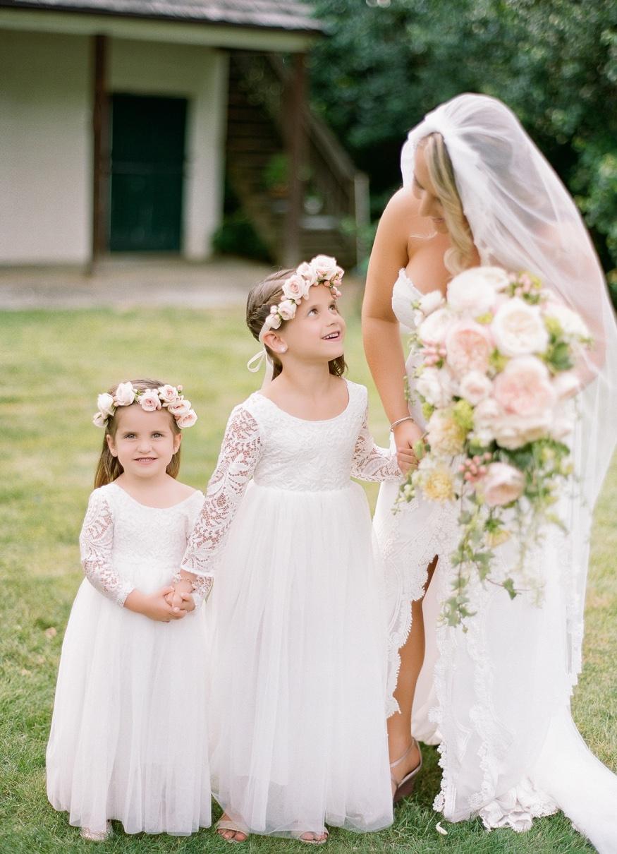 Bridal Party portraits at New Jersey backyard wedding.