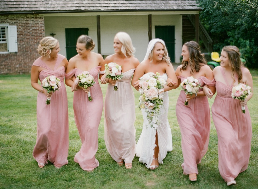 Bridal Party portraits at New Jersey backyard wedding.