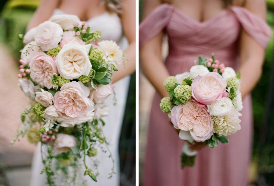 Bridal bouquet by Flowers by Elizabeth at New Jersey backyard wedding.