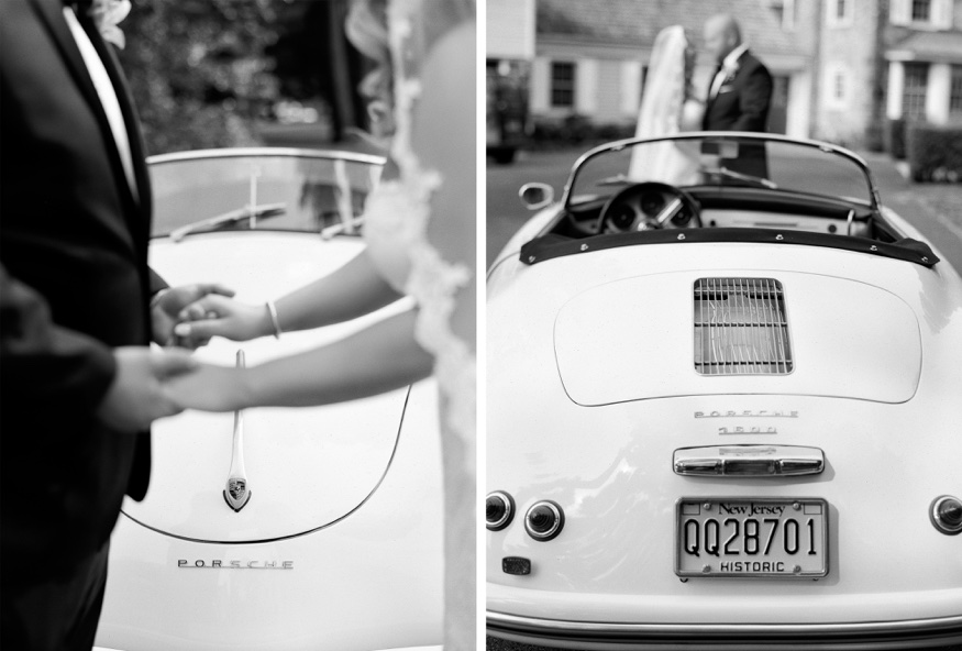 Bride and Groom portraits with vintage car at New Jersey backyard wedding.