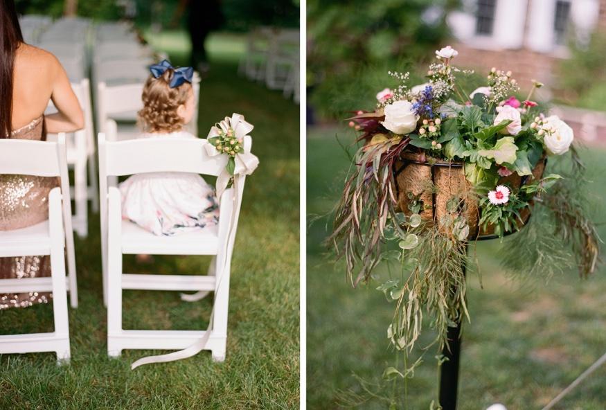 Ceremony details at New Jersey backyard wedding.