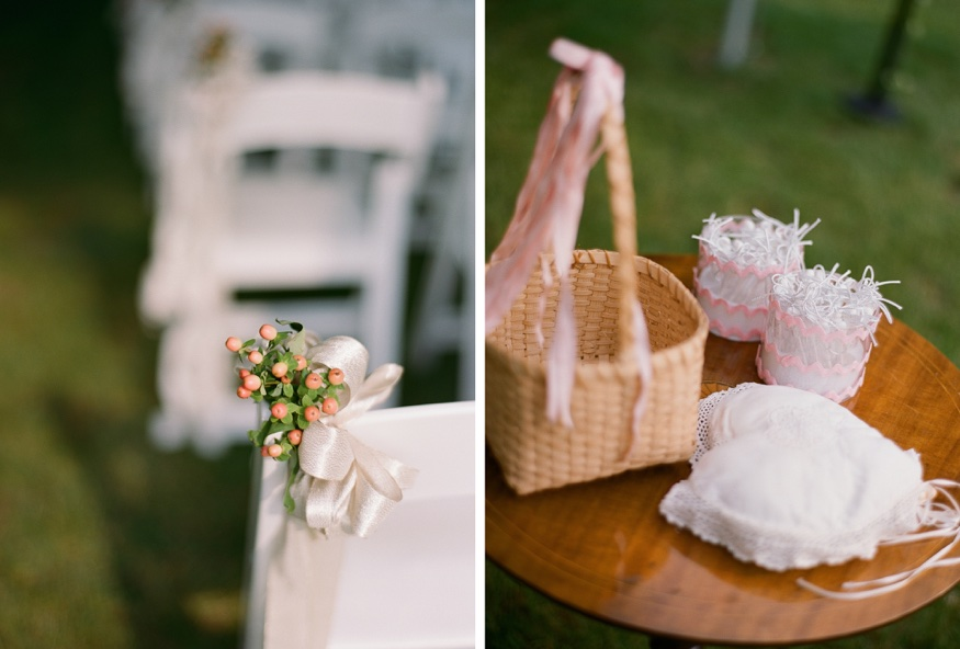 Ceremony details at New Jersey backyard wedding.