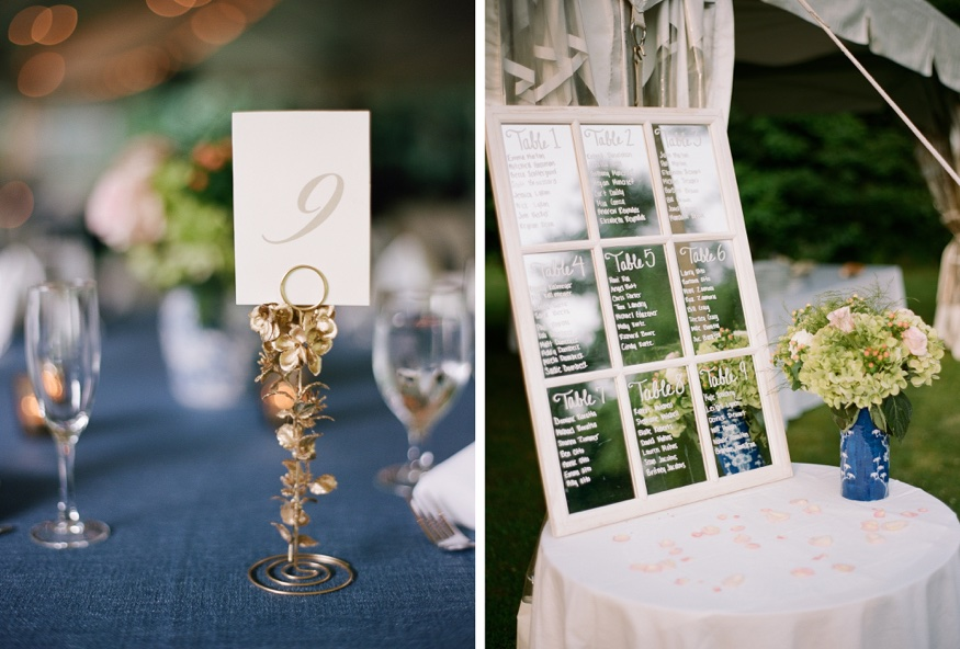 Reception details at New Jersey backyard wedding.