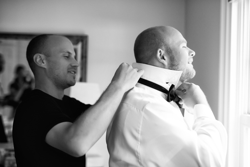 Groom getting ready at New Jersey backyard wedding.