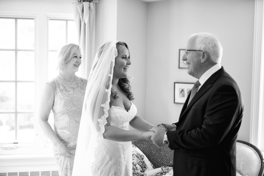 Father and Daughter first look at New Jersey backyard wedding.