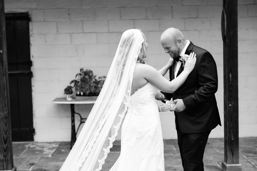 Bride and Groom first look at New Jersey backyard wedding.