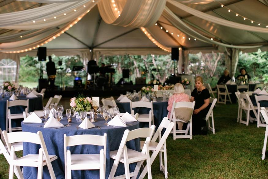 Reception details at New Jersey backyard wedding.