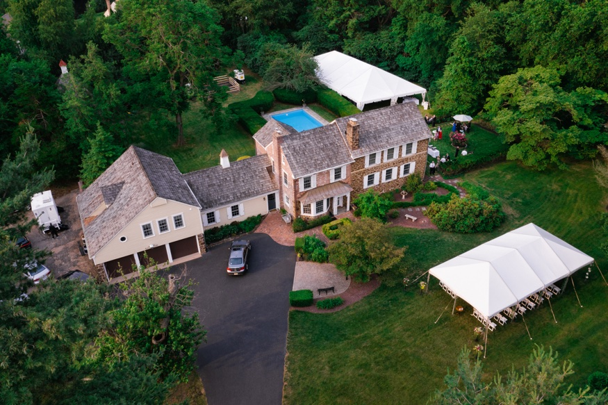Drone photos of New Jersey backyard wedding.