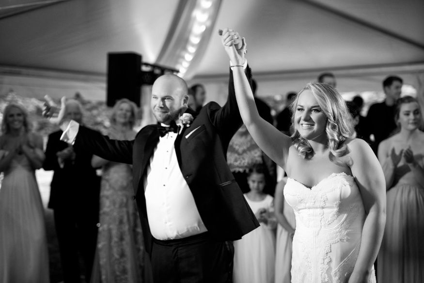Bride and groom first dance at tented New Jersey backyard wedding.