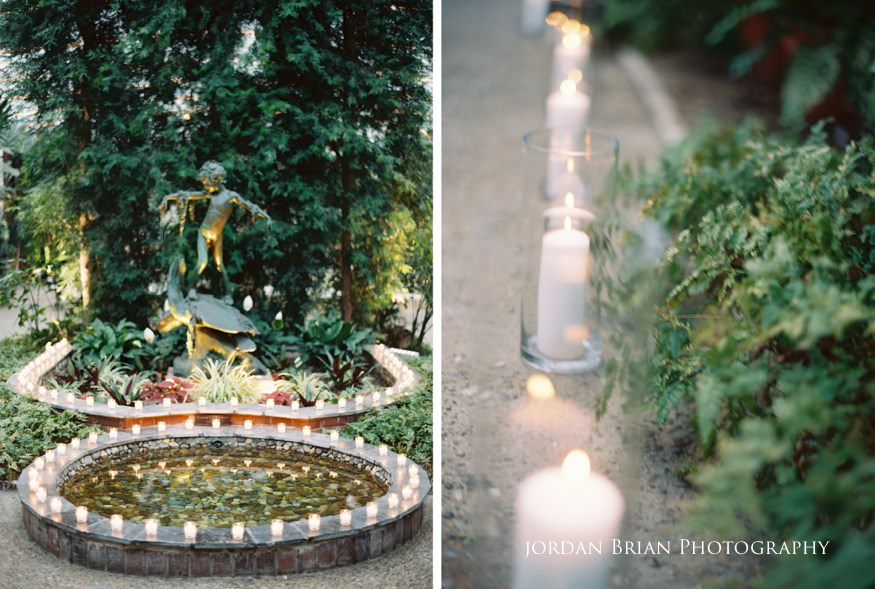 Pond lit with tea lights at Fairmount Park Horticulture Center wedding.