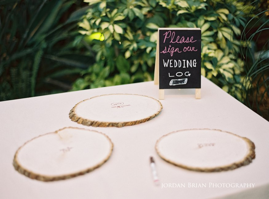 custom wood sign-in blocks at Fairmount Park Horticulture Center wedding.