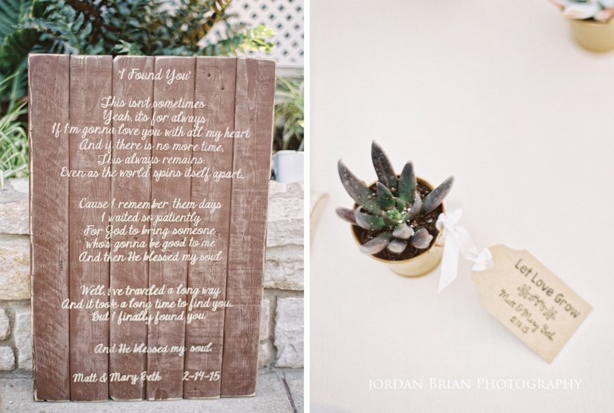 Reception details at Fairmount Park Horticulture Center wedding.
