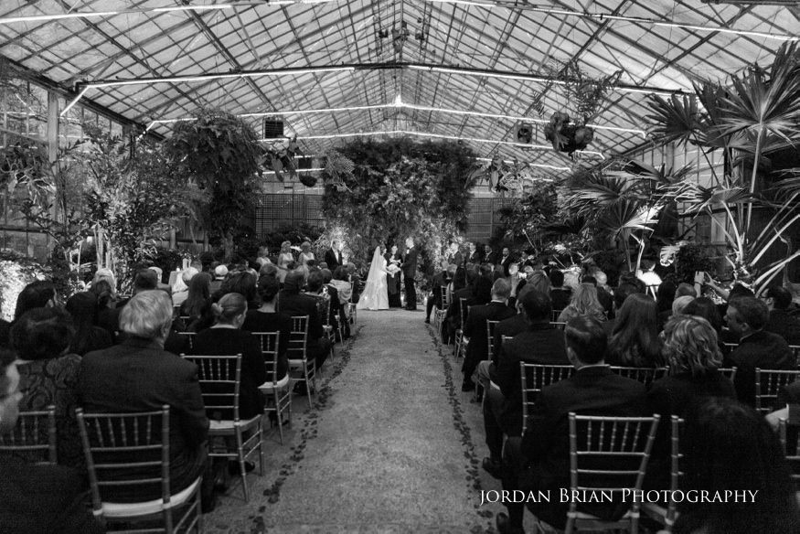 Guests view during ceremony at Fairmount Park Horticulture Center wedding.