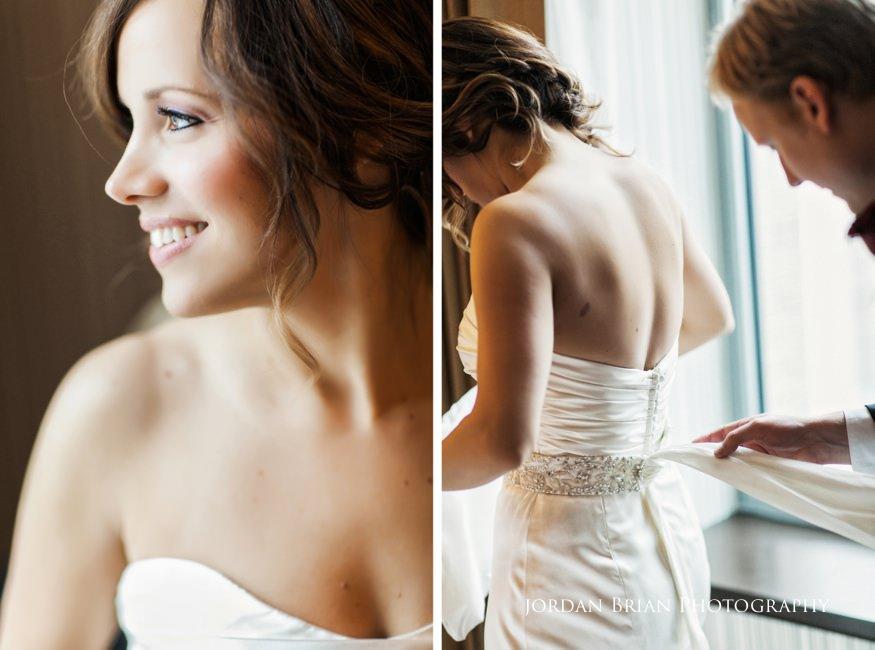 Bride getting dressed at Sofitel for Fairmount Park Horticulture Center Wedding