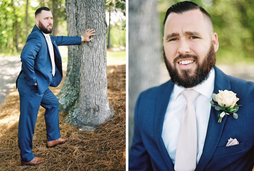 Groom portraits at Trump National Golf Club wedding.