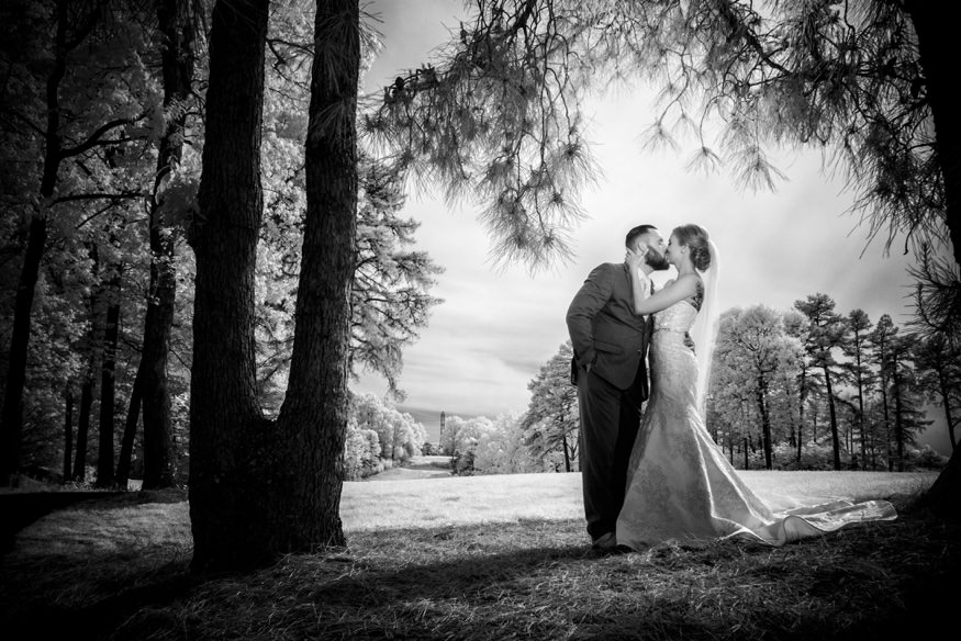 Infrared portrait of Bride and Groom at Trump National Golf Club wedding.