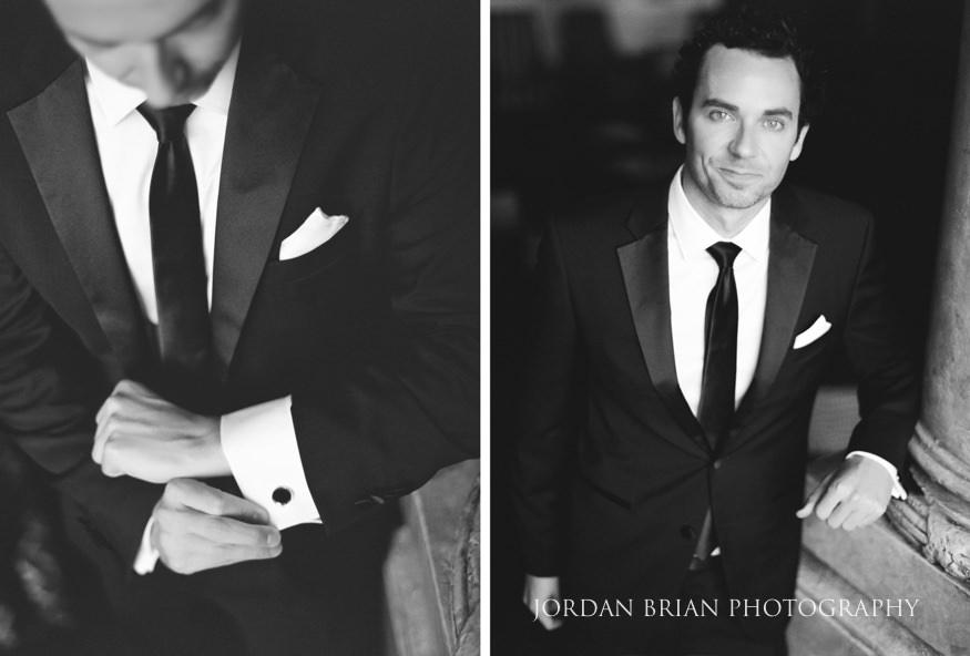 Black and white film portraits of Groom getting ready before Philadelphia Bellevue Hotel Wedding.