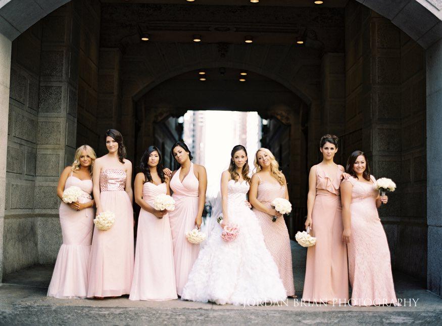 Bridesmaids at City Hall Philadelphia before Bellevue wedding.