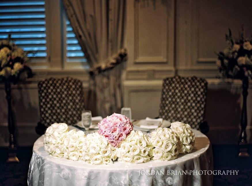Table details at Bellevue Hotel wedding reception.