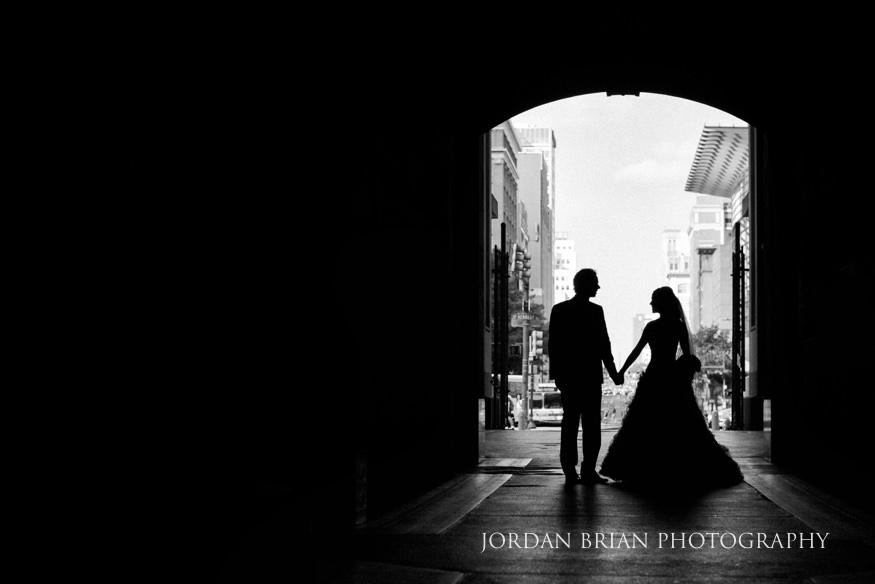 Bride and Groom at City Hall Philadelphia before Bellevue Hotel Wedding.