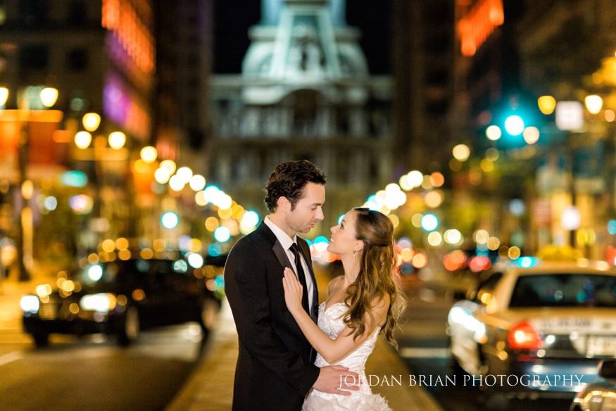 Night portraits at City Hall Philadelphia at Bellevue Hotel wedding.