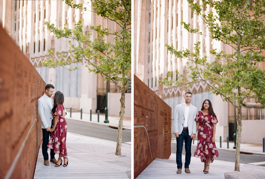The Rail Park Philadelphia engagement session in front of rusted art wall map.