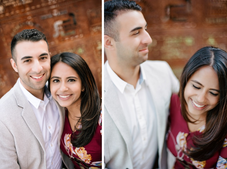 The Rail Park Philadelphia engagement session in front of rusted art wall map