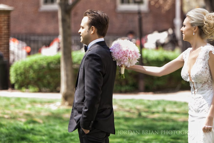 bride and groom reveal at hotel monaco before curtis center wedding in philadelphia