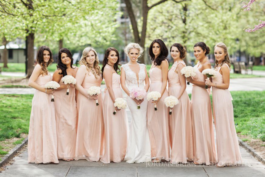 bridesmaids portraits at rittenhouse square park before curtis center wedding