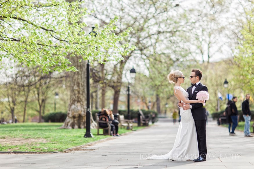 bride and groom portraits at rittenhouse square park before curtis center wedding