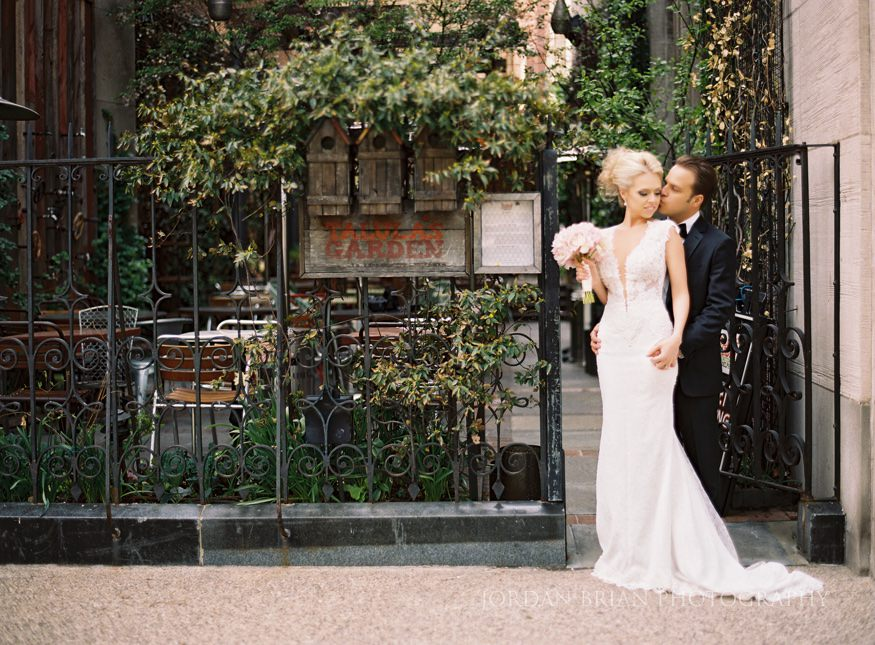 bride and groom portraits at rittenhouse square before curtis center wedding