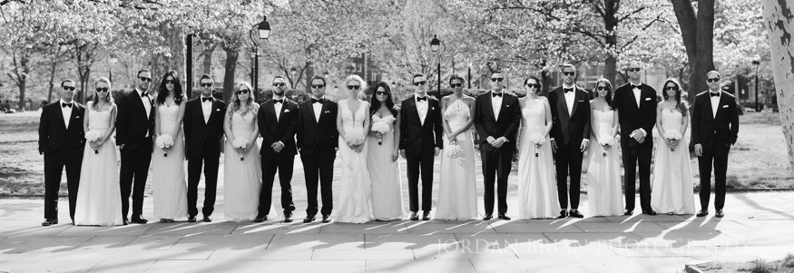 bridal party portraits at rittenhouse square park before curtis center wedding
