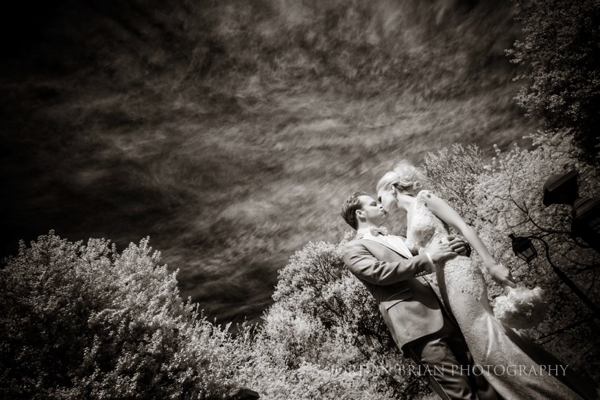 infrared bride and groom portraits at rittenhouse square park before curtis center wedding