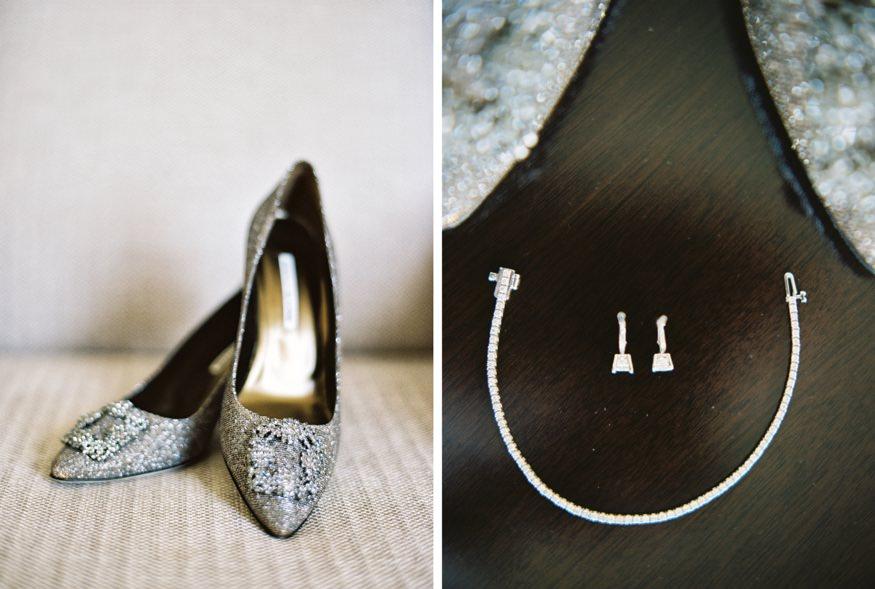 Bride's Manolo Blanik wedding shoes at Ritz Carlton Philadelphia.