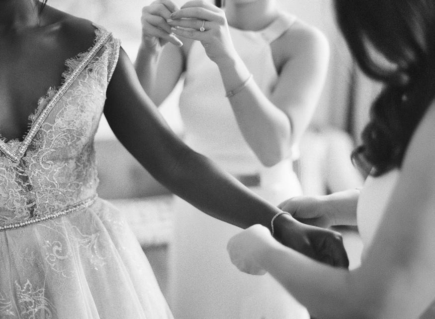 Bride getting ready at Ritz Carlton Philadelphia in Galia Lahav wedding dress.