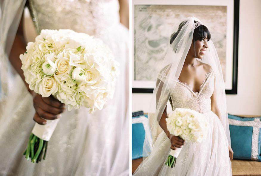 Bridal bouquet by Carl Alan. Wedding dress by Galia Lahav.